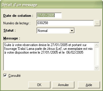 Messagerie : Message reservation dispo
