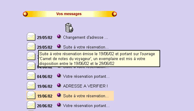Messagerie : Messages OPAC